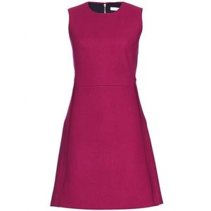 Victoria Beckham Wool Burgundy Dress